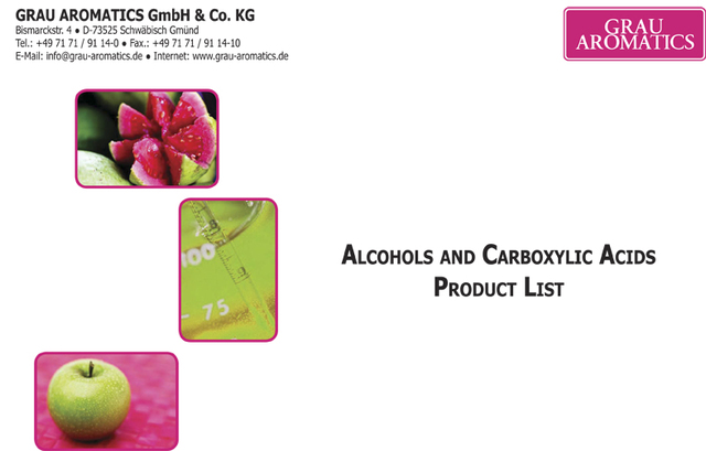Alcohols and carboxylic acids product list Grau Aromatics