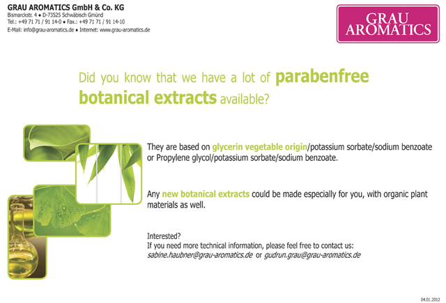 Parabenfree botanical extracts Grau Aromatics